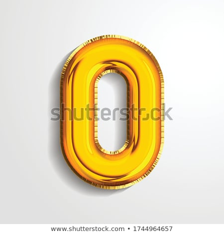 0 Zero Number Vector. Golden Yellow Metal Letter Figure. Digit 0. Numeric Character. Alphabet Typogr Stock photo © pikepicture