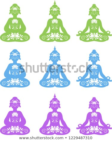 Divine Buddha's sitting silhouette set Stock photo © Blue_daemon