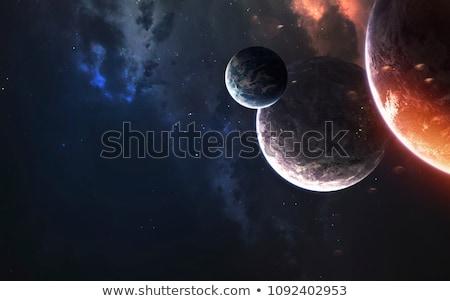 Stockfoto: Planeten · Galaxy · illustratie · zon · maan · achtergrond