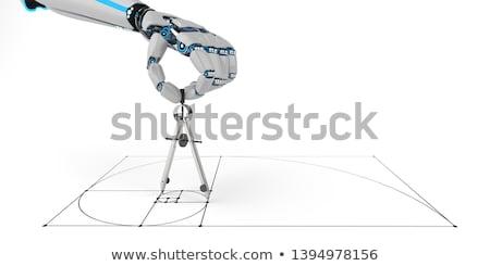 humanoide · robot · mano · brújula · 3d · escuela - foto stock © limbi007