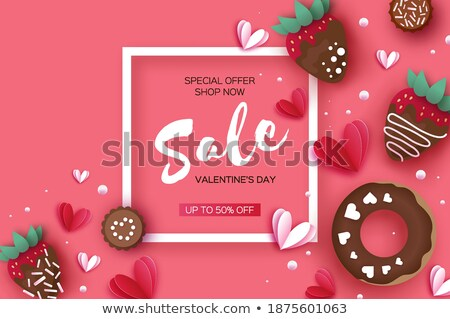 Valentine's day card with pink cookies Stock photo © balasoiu