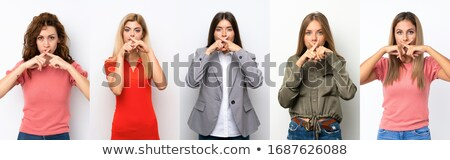 Set of girl with shh sign Stock photo © bluering