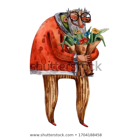 bearded man with flower bouquet isolated cartoon stock photo © robuart
