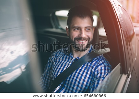 Gelukkig mannelijke chauffeur vergadering binnenkant auto Stockfoto © AndreyPopov