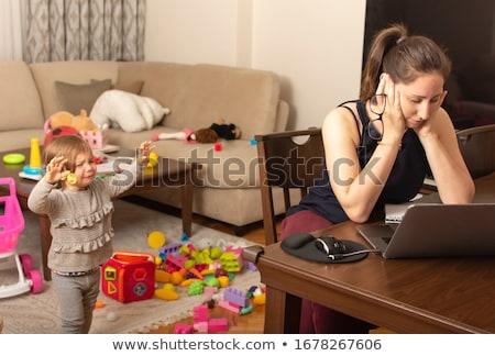 konfliktus · anya · fiú · nő · szemek · gyermek - stock fotó © lopolo