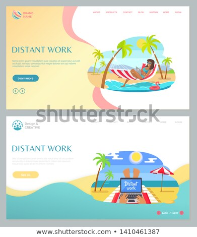 Laptop on Sand, Distant Work on Beach Web Vector Stock photo © robuart