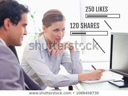 Emberek dolgoznak iroda számítógépek állapot rácsok digitális kompozit Stock fotó © wavebreak_media