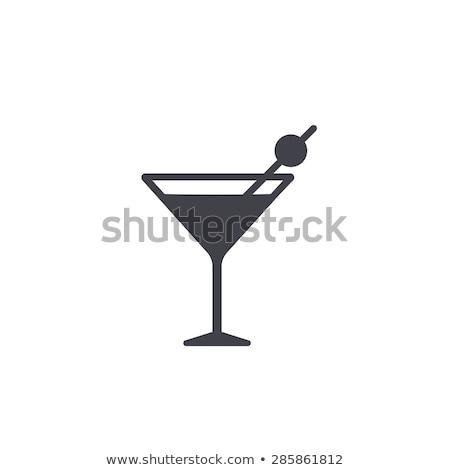 ガラス マティーニ カクテル 緑 オリーブ パーティ ストックフォト © Alex9500