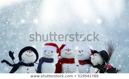 karácsony · hóember · fenyőfa · ág · karácsony · üdvözlőlap - stock fotó © karandaev