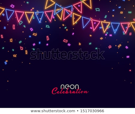 neon garland flags decoration with stars background Stock photo © SArts