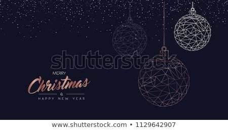 Stock photo: Merry christmas card of copper bauble ornaments