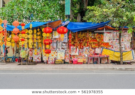 Lunar new year lucky decoration objects. words mean best wishes and good luck for the coming vietnam Stock photo © galitskaya
