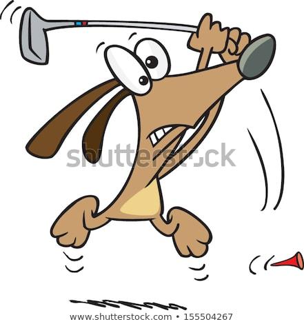 Cartoon chien jouer golf blanc noir illustration Photo stock © bennerdesign