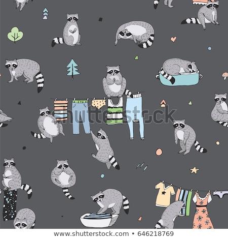 Cartoon cute doodles hand drawn Cleaning seamless pattern Stock photo © balabolka