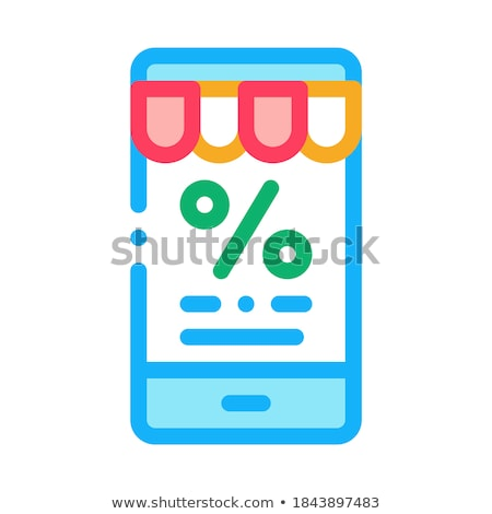 Telefoon procent bericht icon vector schets Stockfoto © pikepicture