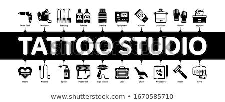 Tatuagem estúdio ferramenta mínimo bandeira Foto stock © pikepicture