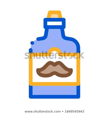Flasche Schnurrbart Label Symbol Gliederung Illustration Stock foto © pikepicture