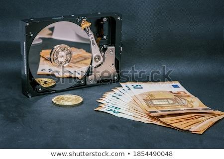 Bitcoin érme hdd érmék telefon internet Stock fotó © olira