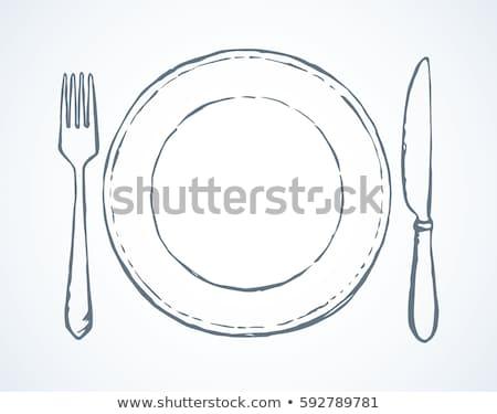 łyżka nóż widelec pojedyncze obiekty szkic Zdjęcia stock © ShustrikS