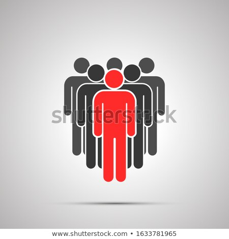Collective of people silhouette with red leader, simple black icon with shadow on gray Stock photo © evgeny89
