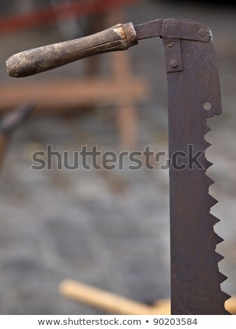 Rozsdás favágó fűrész öreg viharvert barna Stock fotó © bobkeenan