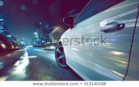 oldalnézet · autó · vezetés · gyors · éjszaka · út - stock fotó © mtoome