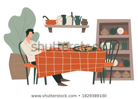 senior · ouderen · man · verzorger · maaltijd - stockfoto © photography33