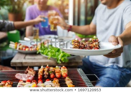ストックフォト: グリル · 時間 · バーベキュー · 庭園 · 食品 · 赤