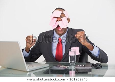 Empresario cubierto notas adhesivas negocios papel hombre Foto stock © photography33