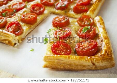 Tomate tarta pizza huevo fondo cena Foto stock © M-studio