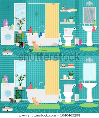 tuvalet · konteyner · kedi · dışarı · mavi · plastik - stok fotoğraf © benchart