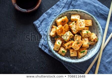 Frito tofu legumes comida cor vegetal Foto stock © M-studio