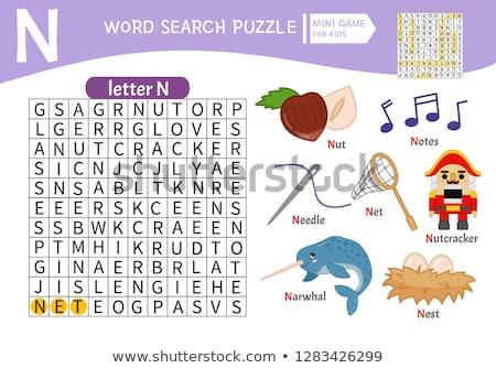 letter n with nut cartoon illustration Stock photo © izakowski