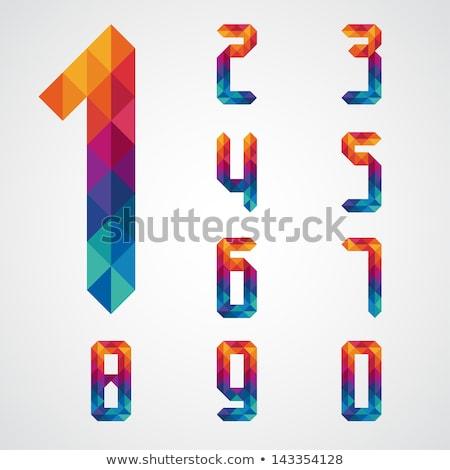 Stock fotó: Színes · absztrakt · ikonok · szám · szett · senki