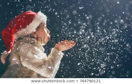 Święty mikołaj dziewczyna śniegu portret piękna kobieta Zdjęcia stock © photosebia