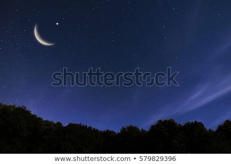 луна небе закат облака синий Сток-фото © andrewroland