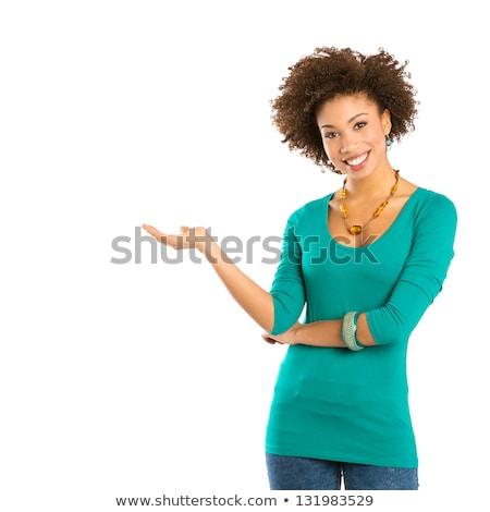 ストックフォト: かわいい · 女性 · 孤立した · 白 · ブラウン