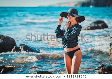mavi · elbise · güzel · genç · kadın · baskı · kız - stok fotoğraf © disorderly