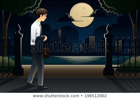Businessman Coming Home Late From Work Stockfoto © Artisticco