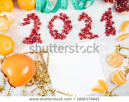 Mérőszalag piros gránátalma zöld diétázás izolált Stock fotó © boroda