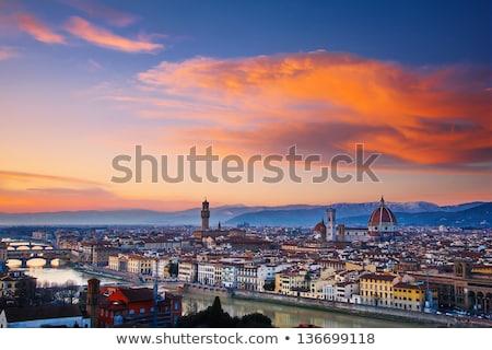 Florence cityscape madrugada Itália céu edifício Foto stock © pixachi