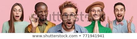 Fiatalember svájcisapka izolált fehér stúdiófelvétel arc Stock fotó © alexandrenunes