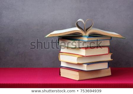 nyitott · könyv · szív · alak · könyv · szív · oktatás · lap - stock fotó © vinnstock