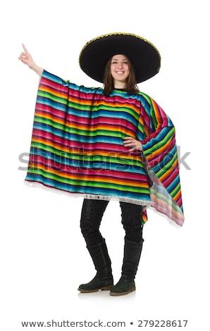 joli · fille · mexican · isolé · blanche · femme - photo stock © elnur