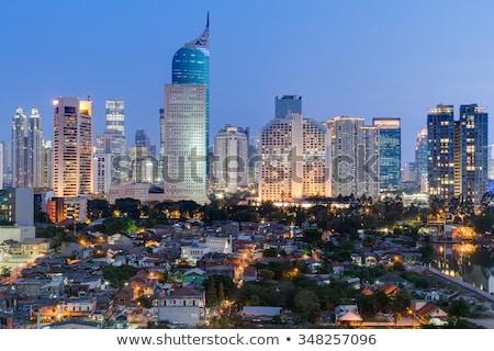 Dzsakarta · város · naplemente · panorámakép · városkép · Indonézia - stock fotó © joyr