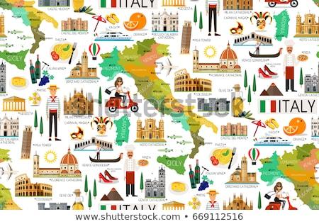 Kaart Italië uit geïsoleerd witte Blauw Stockfoto © Istanbul2009