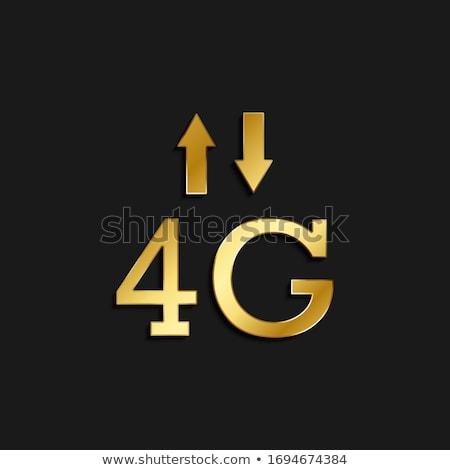 4g felirat arany vektor ikon terv Stock fotó © rizwanali3d