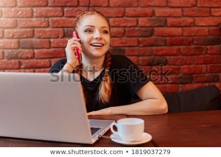 genç · kadın · oturma · restoran · çekici · telefon - stok fotoğraf © vlad_star