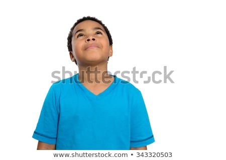 Thoughtful African American Boy Looking Up High Stock photo © ozgur