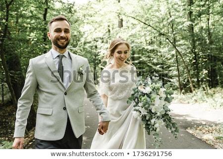 düğün · an · çiçek · kız · adam · gün · batımı - stok fotoğraf © lightpoet